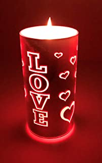 American Star Love LED Valentine Candles/Luminara Flameless/Pink Red Hearts/Romantic/Christmas Mother's Day Teenage Girl Gifts/Battery Operated/Happy Baby Night Light/Long Distance Relationships