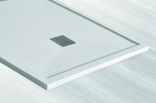 PLATO DE DUCHA SANTORINI CON MARCO DE 1 cm - COLOR BLANCO - EXTRAPLANO 3,5 cm. - Antideslizante - Incluye Sifón y Rejilla (80x120 cm)