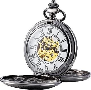 para Hombre Esqueleto mecánico Reloj de Bolsillo, Retro números Romanos, Mitad Hunter, Negro