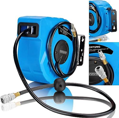 Deuba Druckluftschlauch Aufroller automatisch 10m 3/8' Anschluss Schlauchtrommel Abroller Schlauchaufroller