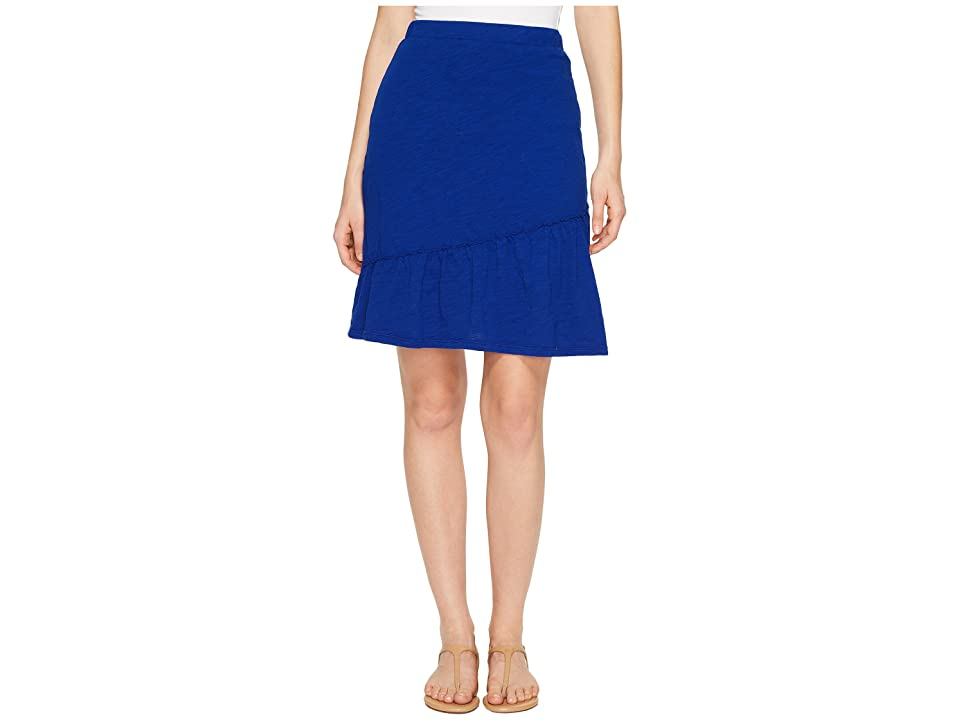 Mod-o-doc Slub Jersey Short Skirt with Asymmetrical Ruffle (Nautical) Women