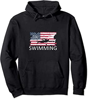 USA Swimming Hoodie Distressed US Flag Swimming Hoody
