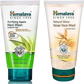 Himalaya Herbals Purifying Neem Face Wash, 150ml & Himalaya Natural Glow Kesar Face Wash, 150ml