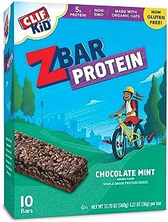 CLIF KID ZBAR - Protein Granola Bars - Chocolate Mint Flavor - (1.27 Ounce Gluten Free Bars, Kids Snacks, 10 Count)