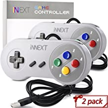 2 Pack New SNES Super Controller, iNNEXT Retro USB Super Classic Controller for PC Mac Linux Raspberry Pi 3 Sega Genesis Higan (Multicolored Keys)