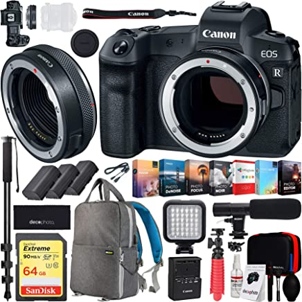 $2199 Get Canon EOS R Full-Frame Mirrorless Digital Camera (3075C002)(Body Only) Control Ring Mount Adapter EF-EOS R 2972C002 and Deco Gear Backpack 2X Extra Batteries Cleaning Kit Microphone Bundle