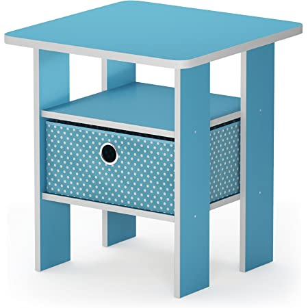 FURINNO Andrey End Table Nightstand with Bin Drawer, 1-Pack, Light Blue/Light Blue
