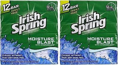 Irish Spring Deodorant Bar Soap, Moisture Blast, 3.75 Ounce Bars, [2 x 12] 24-Count Total