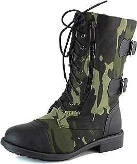 Top Moda Women's Mid Calf Lace up Combat Ankle Zipper Decor Casual Boots