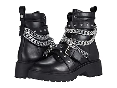 Steve Madden Temina Combat Boots (Black Leather) Women