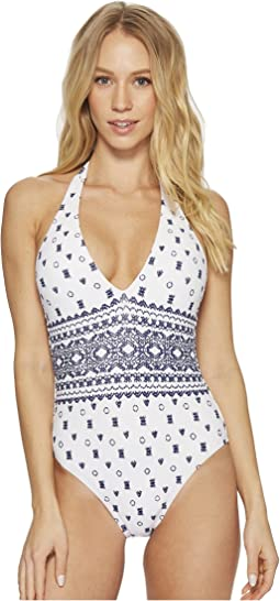 Splendid Boarder Stripe Halter One-Piece