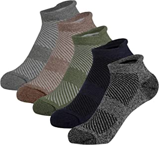 Men's No Show Low Cut Ankle Running Socks with Cushion and Tab, 5 Pack Performance Athletic Socks