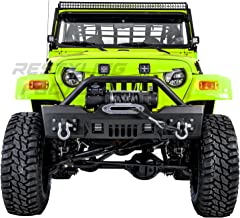 Restyling Factory 97-06 Jeep Wrangler TJ Rock Crawler Black Textured Front Bumper with Winch Mount Plate, Built in 2x Square LED Light Mount and 2x D-rings (Black)