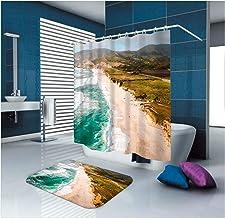 Epinki Polyester Shower Curtain Decorative Bathroom Accessories Blue Beach Sea Bathroom Curtain with 12 Hooks Size 165x180...