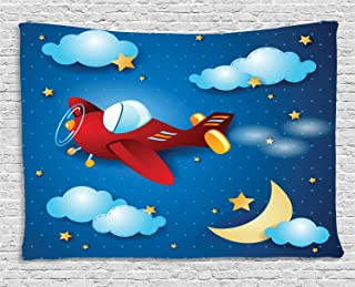 Asian Ceremony Wish for Luck Balloons Chinese Flying Lanterns Scenery Image Ambesonne Night Sky Tapestry by Orange and Black 60 W X 40 L inches Wall Hanging for Bedroom Living Room Dorm