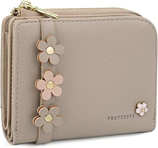UTO Small Wallet for Women PU Leather Flowers Snap Card Holder Organizer Coin Purse