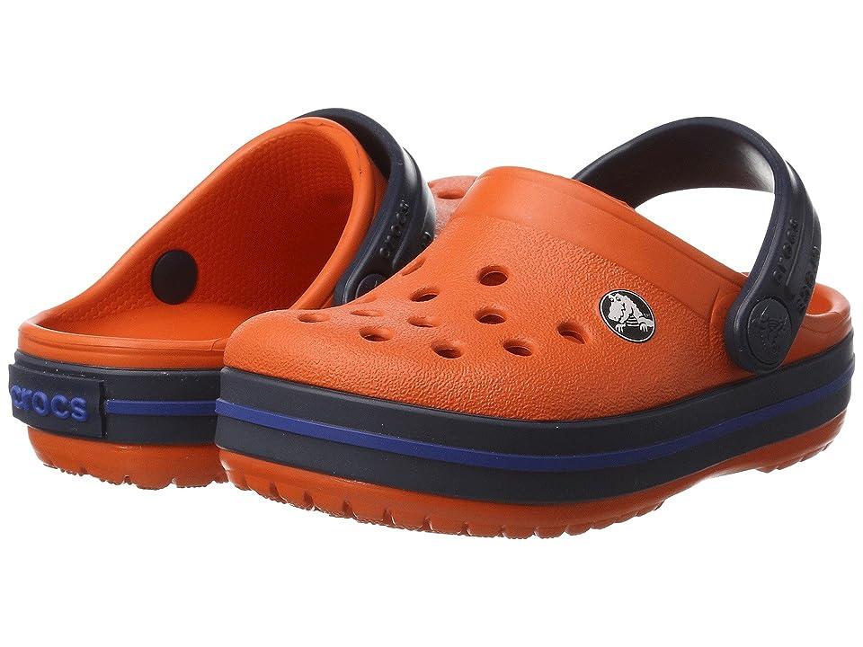 Crocs Kids Crocband Clog (Toddler/Little Kid) (Tangerine/Navy) Kids Shoes