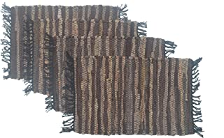 "Chardin Home – Eco-Friendly Recycled Leather placemats (Set of mats - Size 13""x19"", Tan Brown."