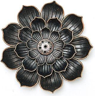 Jiechang Porte-encens en laiton en forme de lotus - Brûleur d'encens en forme de lotus - Porte-encens en laiton (1)