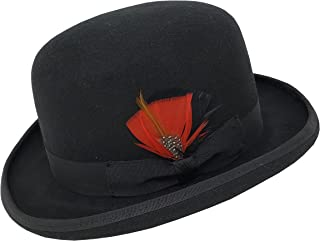 Different Touch Men's 100% Wool Felt Derby Bowler with Removable Feather Fedora Hats