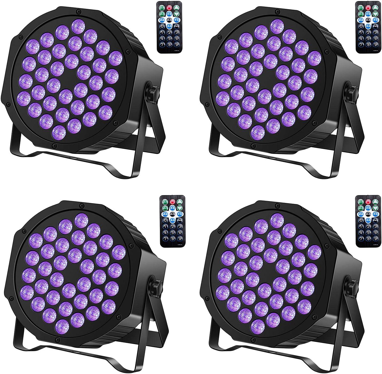 Black Lights U`King 72W UV LED Blacklight Uplights Par Lights Stage Lights by DMX and Remote Control for Disco Stage Lighting Wedding Birthday Party (4 Packs)