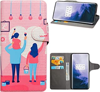 Oneplus 7 Pro Case,HHDY Flip PU Leather Wallet with Viewing Stand/Card Slots Pattern Design Cover for Oneplus 7 Pro,Family