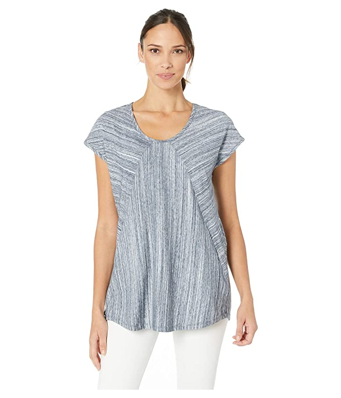 Mod-o-doc Diagonal Seamed Tee with Pockets in Space Dyed Jersey (Navy) Women