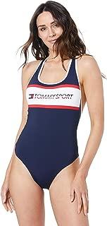 TOMMY HILFIGER Women's Logo Crossover Back Swimsuit