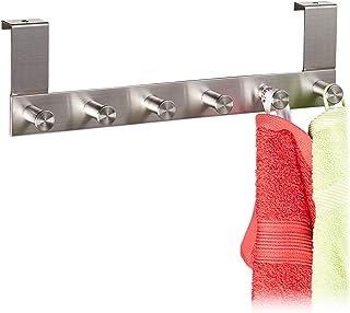 Relaxdays 10030711_470 Porte-Manteau, 6 Crochets vêtements en INOX, à accrocher, Profondeur jusqu'à 1,8 cm, avec rainure, ...