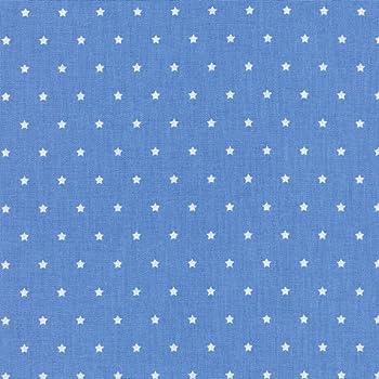 Tela de algodón estampada - Las pequeñas estrellas - tela de estrellas - estrellas blancas sobre un fondo azul cielo - 100% algodón suave | ancho: 160 cm (por metro lineal)*: Amazon.es: Hogar