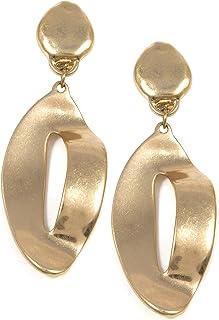 Happiness Boutique Lunghi Orecchini a Clip Color Oro | Orecchini Statement Design Astratto