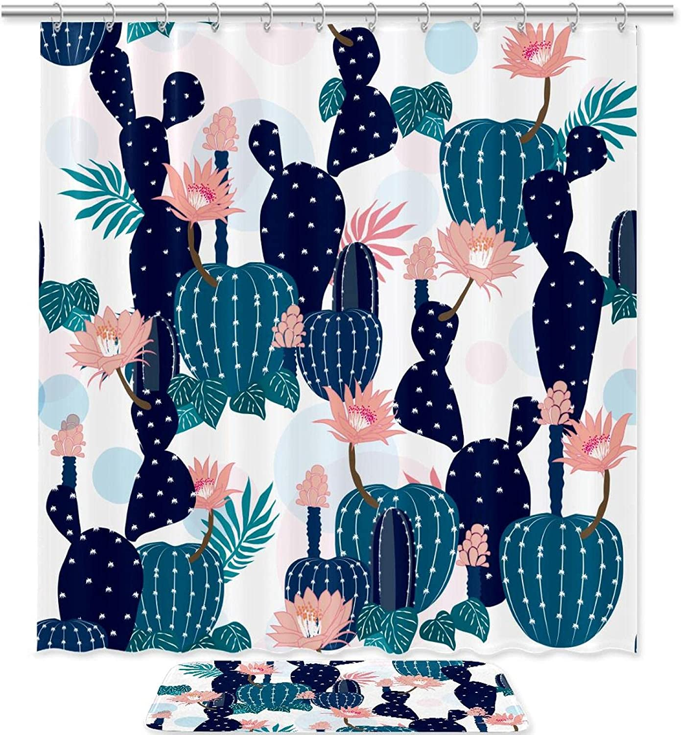Shower Opening large release sale Curtain Sets with Bathroom Rugs and Plant Hooks Fl Award Cactus
