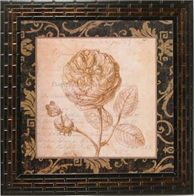 Indianara 4 Piece Set of Framed Wall Hanging Floral Art Prints (2066) 9.5 inch X 9.5 inch Without Glass