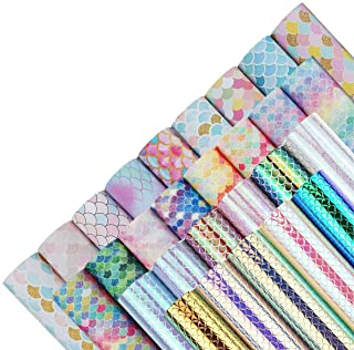 28 Pieces 8x6 Inch Mermaid Scales Faux Leather Sheets for Leather Bows and Earrings Making Include 4 Kinds Mermaid Scales ...