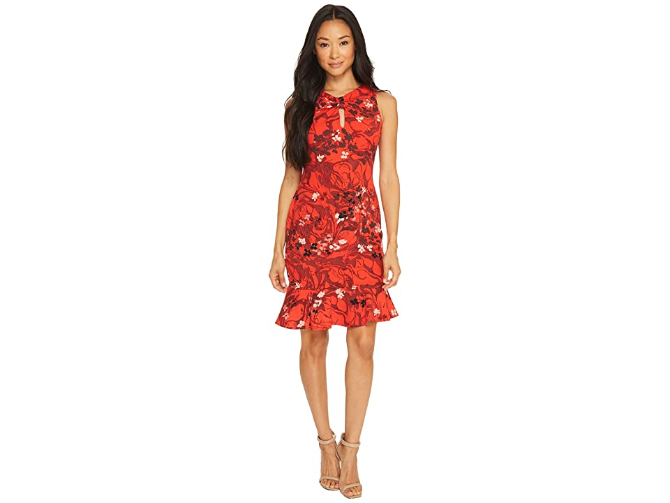 Taylor Floral Printed Crepe Scuba with Flounce Bottom (Crimson Red) Women