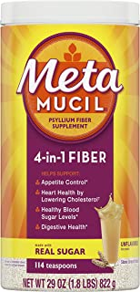 Metamucil Fiber, 4-in-1 Psyllium Fiber Supplement Powder with Coarse Real Sugar, Unflavored Drink, 114 Servings (Packaging May Vary)