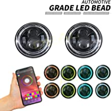 """Best DEAL 2x 7"""" 60W Bluetooth Controlled Round RGB Halo Ring LED Headlights Fit For Any Models With 6012/6014 / 6015 / H6017 / H6024 Round Sealed Beam Headlights Review"""
