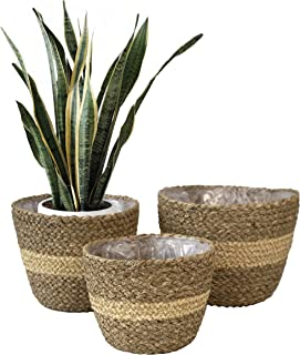 Made Terra Set 3 Woven Plant Pot Basket Indoor Planters, Natural Seagrass Willow Wicker Flower Planter Pot Container Baske...