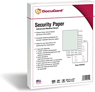 DocuGard Advanced Medical Security Paper for Printing Prescriptions and Preventing Fraud, CMS Approved, 7 Security Feature...