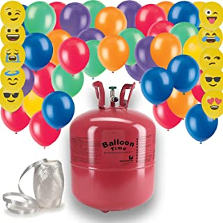 Helium Tank + 50 Multi Color balloons + White Curling Ribbon   Includes 10 emoji Balloons. 14.9 CU Ft Helium, Enough for 50 9