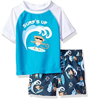 Kiko & Max Baby-Boys Swim Set with Short Sleeve Rashguard Swim Shirt Rash Guard Set