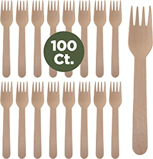 Prexware Biodegradabel Eco-friendly Go green Birchwood Disposable Wooden Forks set of 100