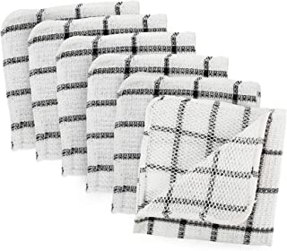 "DII 100% Cotton, Machine Washable, Everyday Kitchen Basic Scrubber Dish Cloths, 12 x 12"" Black and White Plaid-Set of 6 Se..."