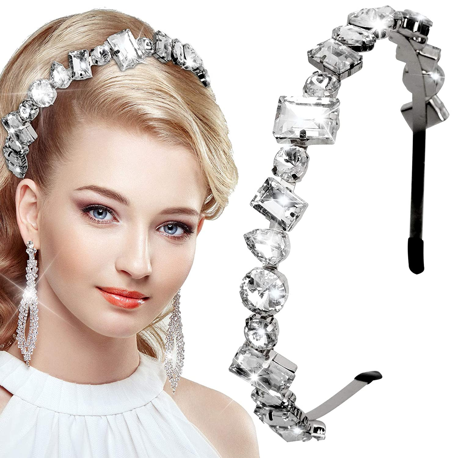 Rhinestone Headbands Jeweled Manufacturer direct delivery Headband for and Silver Free shipping anywhere in the nation Women Girl