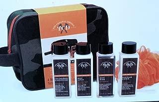 TCD Travel Kit 6 piece- Orange & Camouflage Bag, Pouf, Face Wash Scrub, Sea Salt Body Lotion, Shampoo & Conditioner, Body Wash