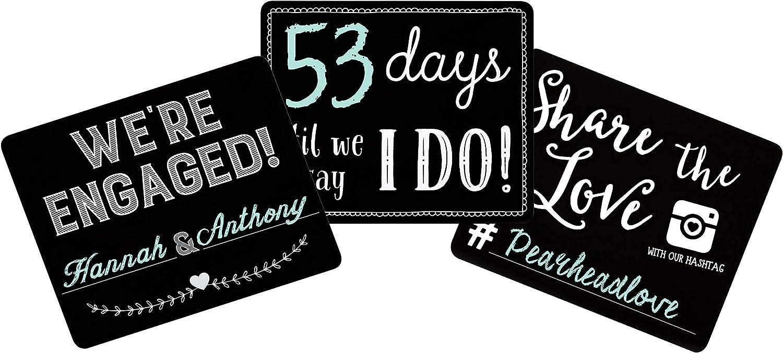Pearhead Wedding Countdown Set Chalkboard Signs, Wedding Reception or Bridal Shower Decoration, Engagement Gift, Black