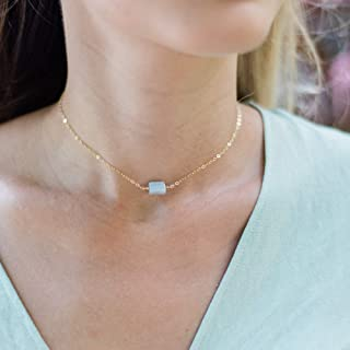 Raw blue lace agate crystal choker necklace in 14k gold fill - 12