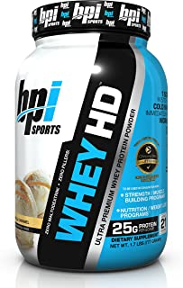 BPI Sports -Whey HD Ultra Premium Protein Powder, Vanilla Caramel, 1.7 Pound