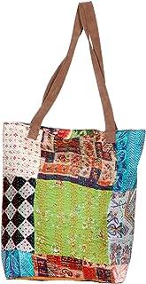 IndiWeaves Womens Silk Kantha Work Leather Handle Handmade Tote Bag, Top Handle Shoulder Bag