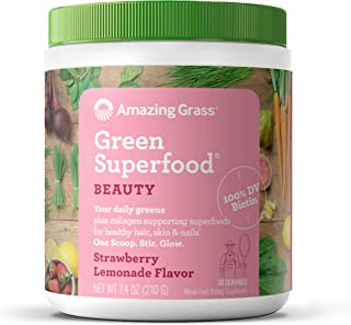 Amazing Grass Green Superfood Beauty: Greens Powder with Biotin & Collagen Supporting Superfoods, Strawberry Lemonade, 30 ...
